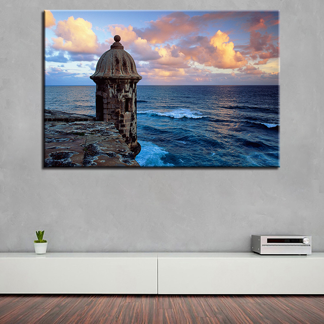 Superb Canvas HD Prints Pictures Bedroom Wall Art Framework Poster 1 Piece/Pcs  Sunset Lighthouse Sea