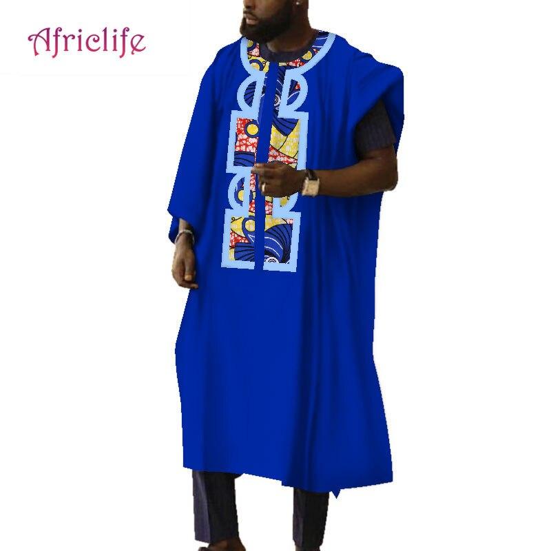c2d177429c1 2019 традиционные африканские Костюмы мужские халаты Печатный воск  Свободные длинным рукавом Thobe платья с принтом Африка