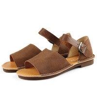 Kadın Sandalet Yaz Ayakkabı % 100% Otantik Deri Ayak Bileği Kayışı Düz Sandalet Kadın Ayakkabı (6958-2)