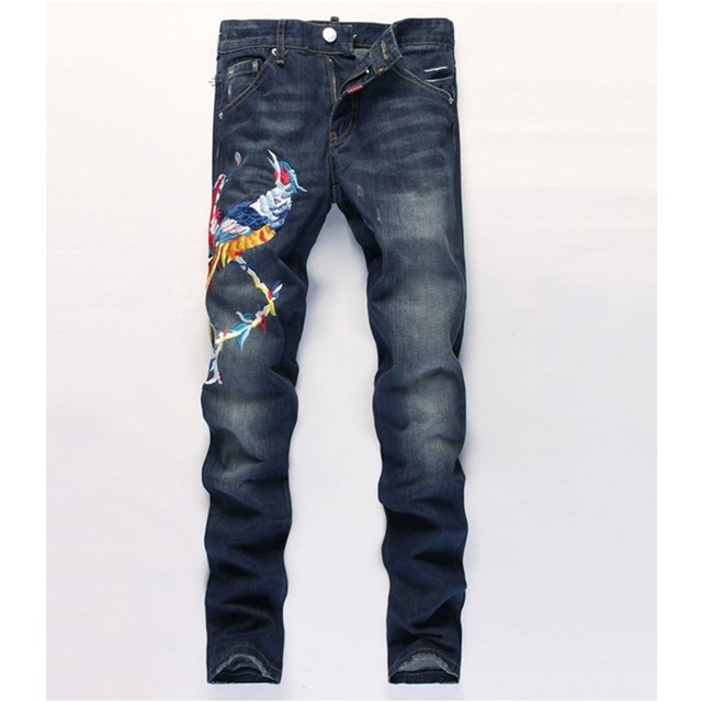 Enchufe Tamaño Mens Jeans Denim Delgado Animal Bordado Blanqueados Efecto Bigote Recto