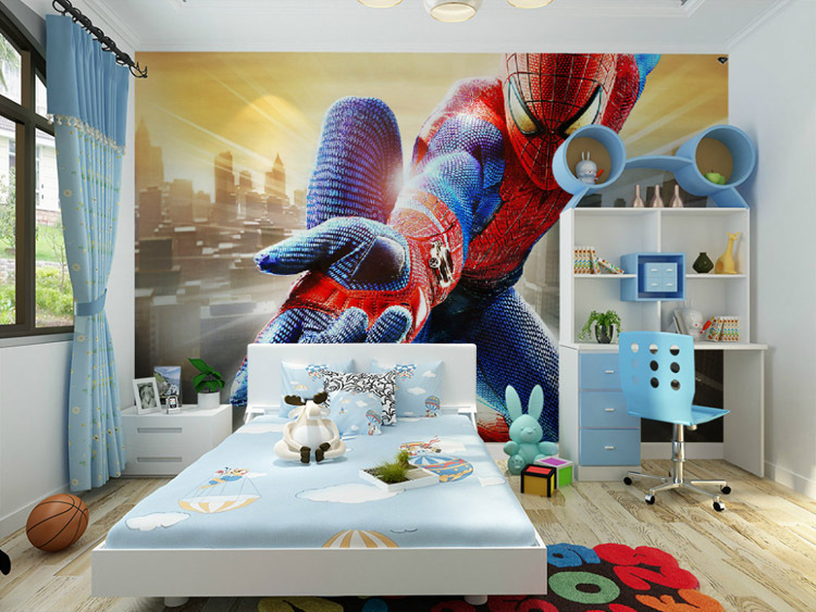 Wonderful Custom Marvel Hero Wall Mural Spiderman Kids Boys Children Photo Wallpaper  Silk Wallpaper Home Decoration Art Room Decor Bedroom In Wallpapers From  Home ...