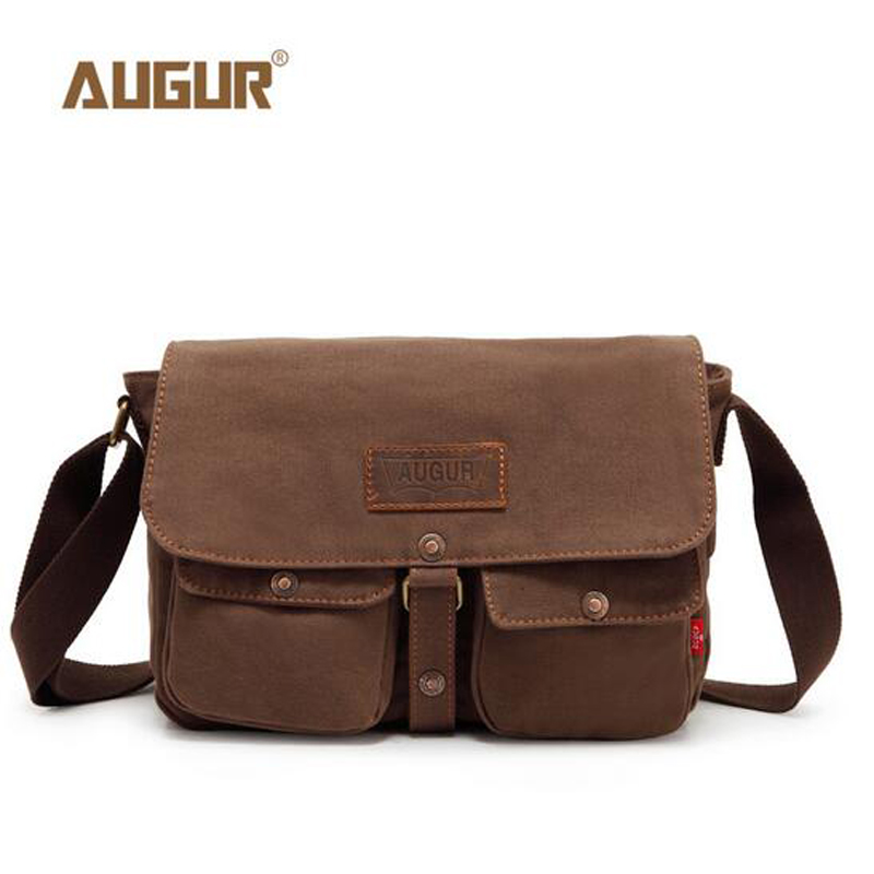 AUGUR Men Bags Vinatge Canvas Travel Messenger Bags Designer Brand Men's Fashion Crossbody Shoulder Bag Solid Male Casual PD0225 canvas rivet single shoulder bags vintage fashion solid zipper male crossbody bag luxury casual handbags men travel package