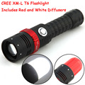 2000LM XM-L T6 LED Magnetic Force ZOOMABLE 5 Mode Flashlight Torch Light + Red White Lamp Diffusers