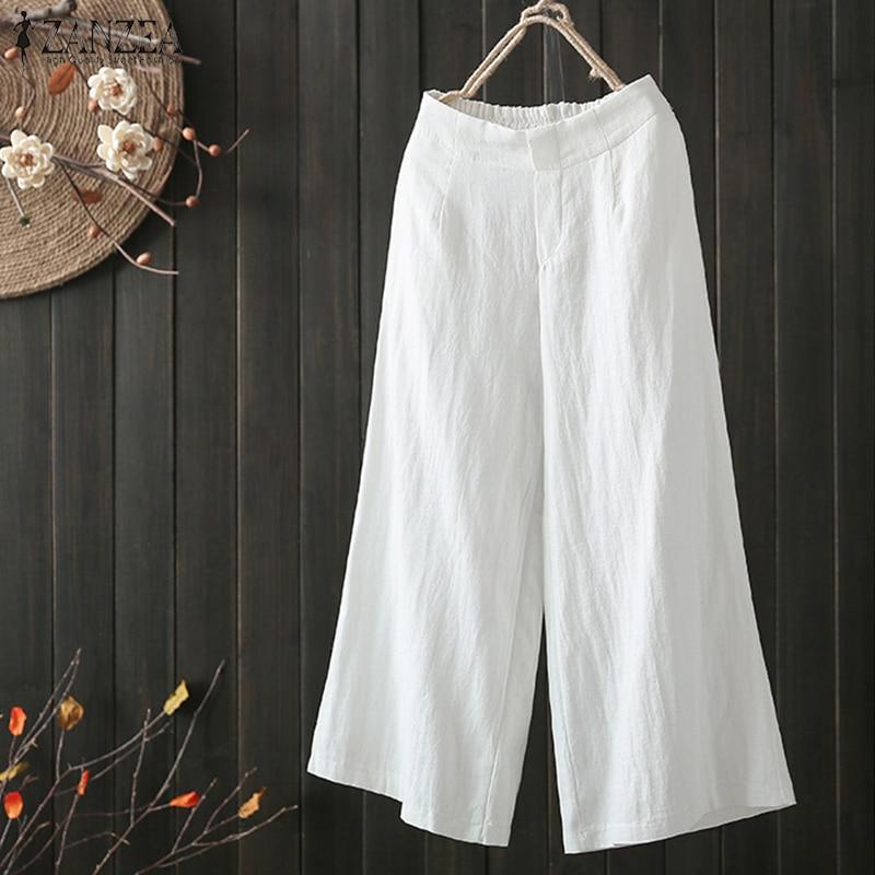 2019 ZANZEA Women Vintage Wide Leg Pants Autumn Elastic Waist Loose Cotton Linen Trousers Pants Solid Work OL Pantalon Plus Size