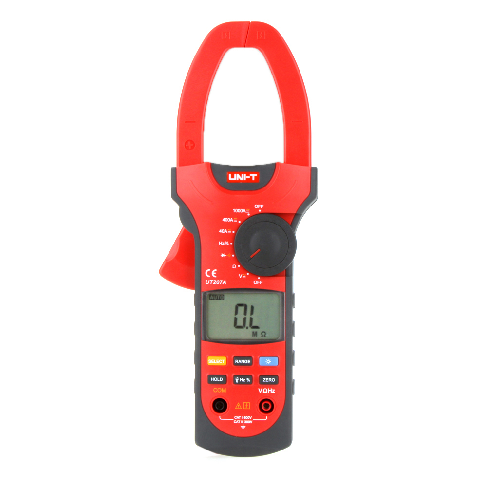 UNI-T UT207A Auto/Manual Range AC/DC Current Voltage Resistance Frequency Digital Clamp Multimeters W/ LCD Backlight uni t ut501b insulation resistance testers auto range lcd backlight high voltage indication