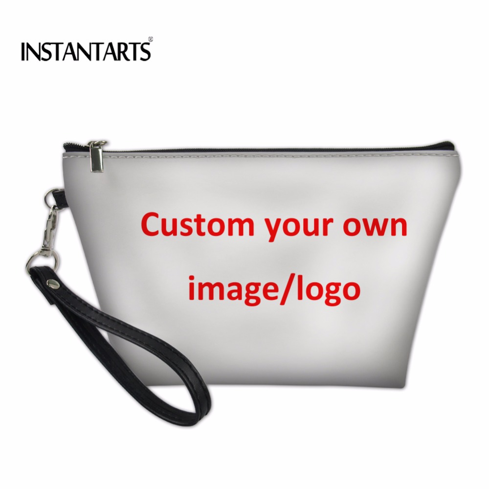 INSTANTARTS Custom Your Own Logo/Image/Photo Print Woman Makeup Case Birthday Gift Large Cosmetic Case Fashion Travel Makeup Bag