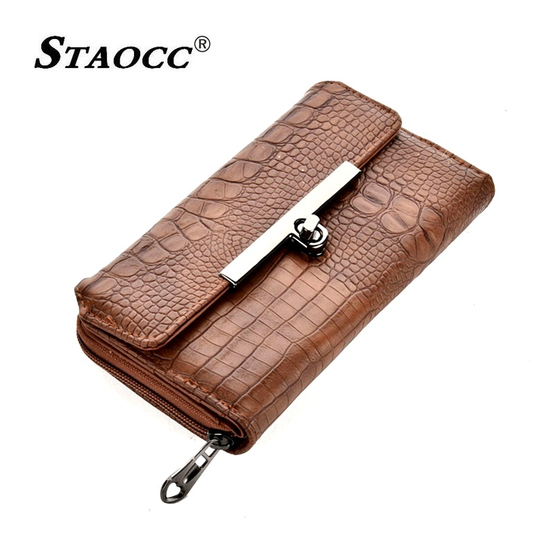 Alligator Wallet Women Clutch Purse Long Luxury Vintage Brand Hand bag Wallet Leather Coin Purse Card Holder Female Wallets 2018 in Wallets from Luggage Bags