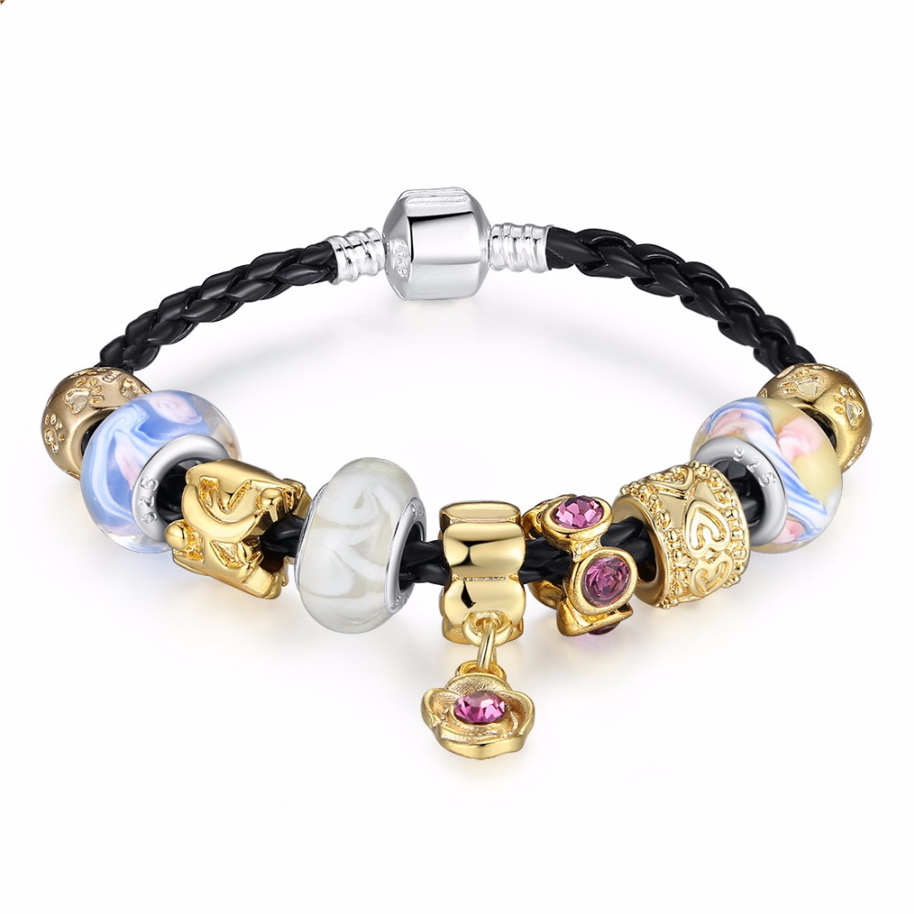 Asian 925 Silver Leather Charm Bracelets Bangles For Women With Murano Gl Beads Gold Diy Birthday Gift Pa1420 In From Jewelry
