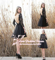 Black Tulle and Lace Short Cocktail Dress Party Dress Backless Lace Appliques and Sleeve Short Prom Dress