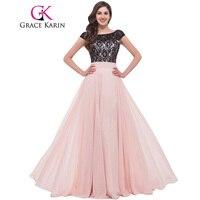 Grace karin chiffon sem costas vestido de renda vestidos de noite 2017 a mãe elegante formal vestidos longos cor de rosa vestido da ocasião especial com mangas