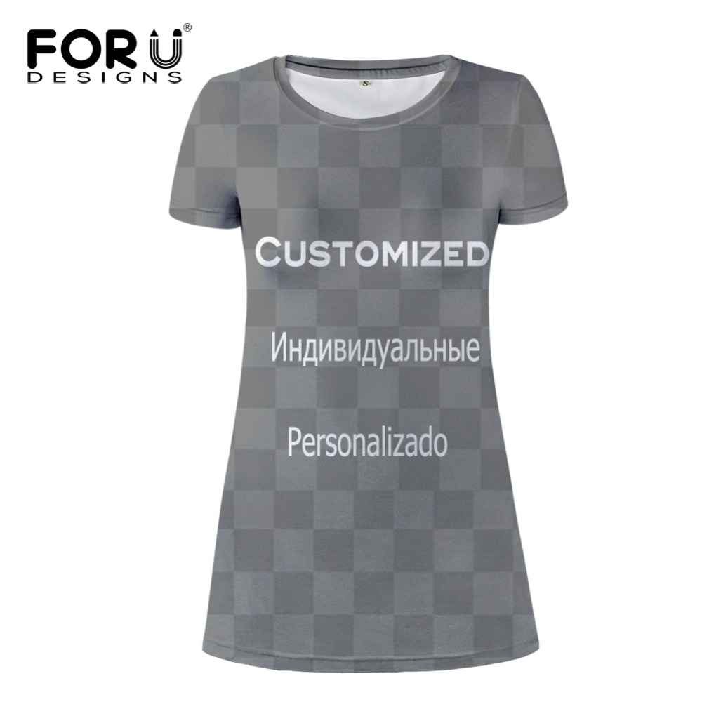 FORUDESIGNS Customized printed Link short sleeve summer dress leisure women A-line mini Vestidos casual becah  xs-xl