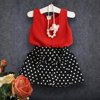 2017 New Summer Girl Temperament Dots Chiffon Suit Chiffon Blouse Wave Point T Shirt Skirt Two