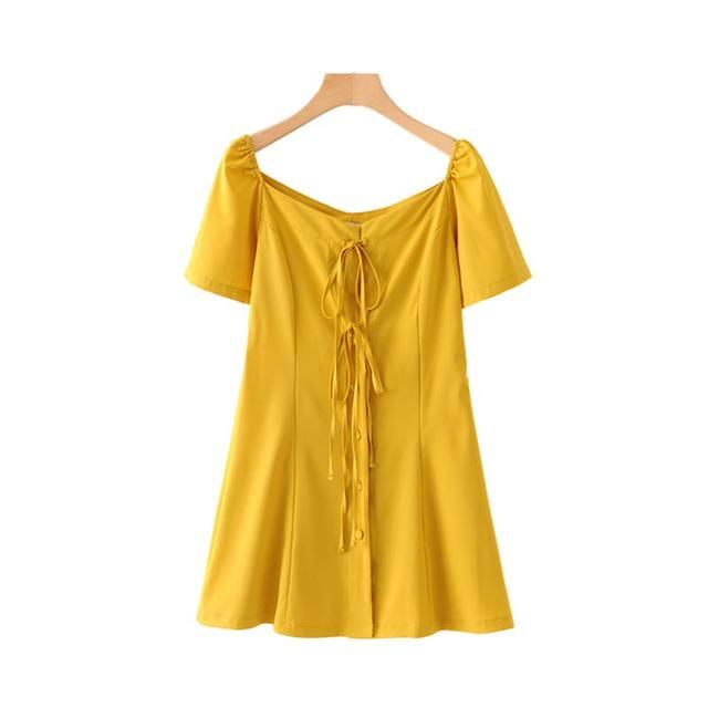 Women V Neck Yellow Mini...