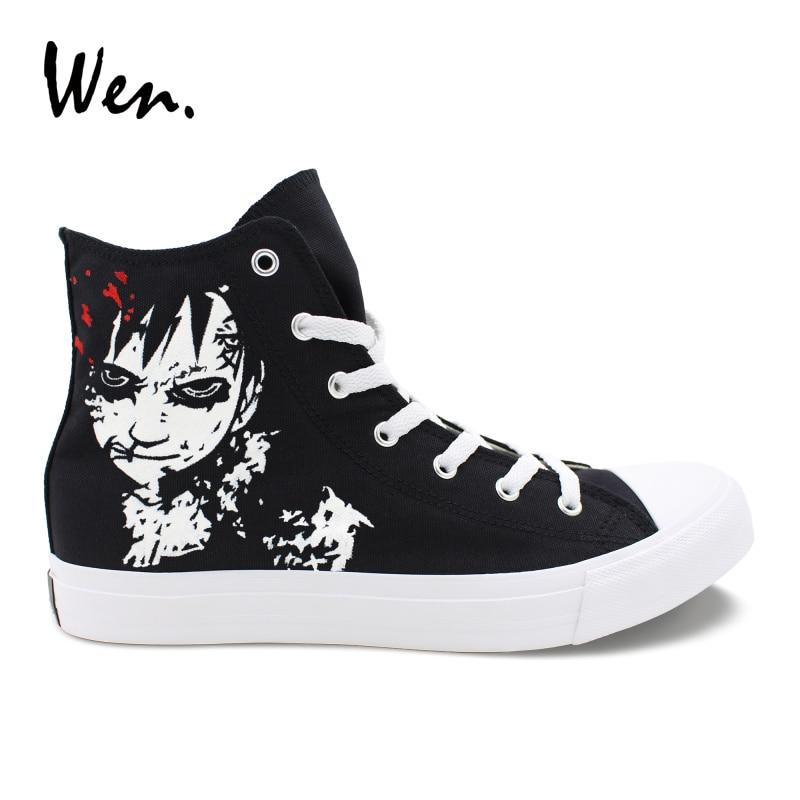 Wen Hand Painted Skateboard Shoes Design Anime Naruto Shippuuden Gaara High Top Classic Black Canvas Sneakers Unisex Plimsolls