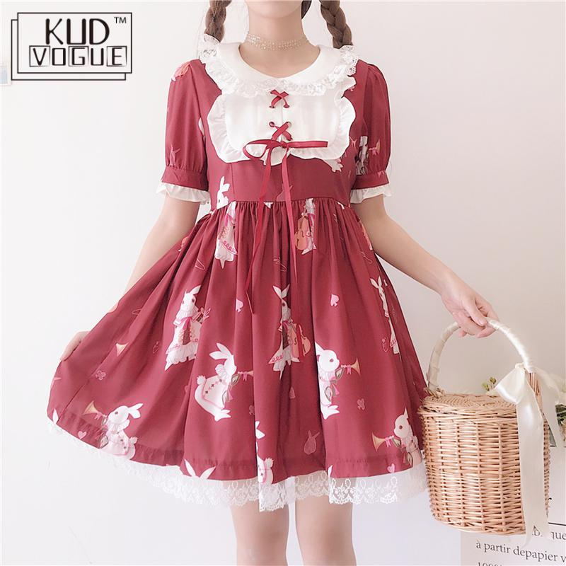 Lolita Dress Sweet Rabbit Cute Japanese Kawaii Girls Princess Maid Vintage Gothic Printed Lace White Red Summer Skirt 8446