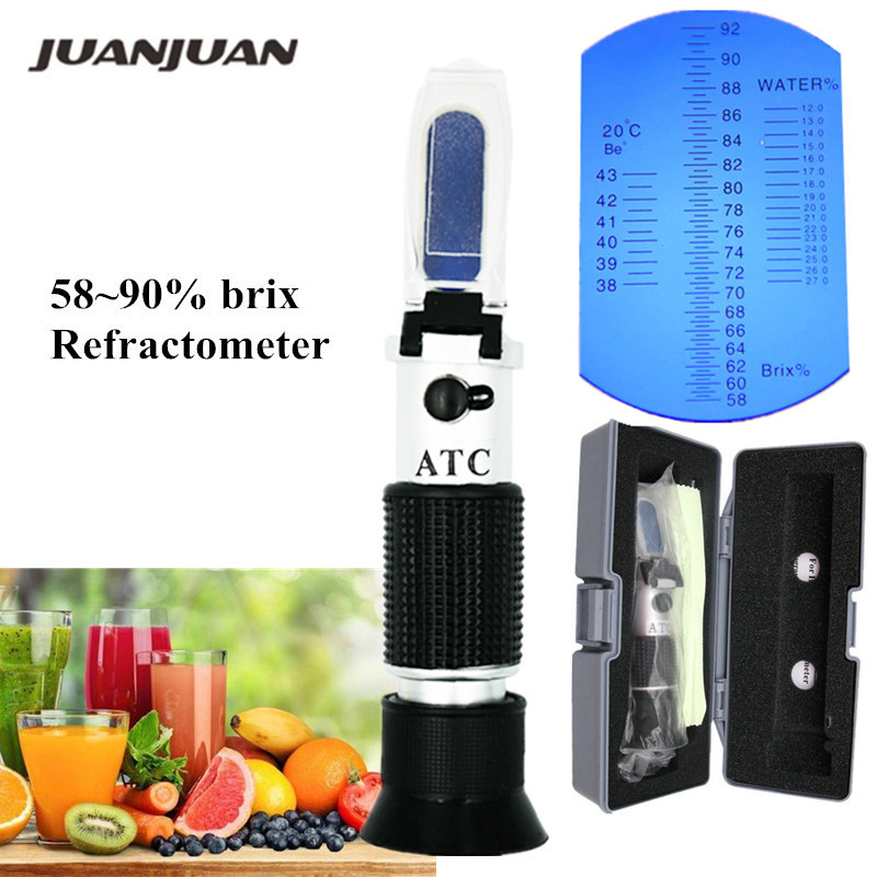Retail Box Hand Held Brix 58~90% RHB-90 Refractometer Brix Honey ATC For Jam Syrup Controlling Concentrations 40% Off