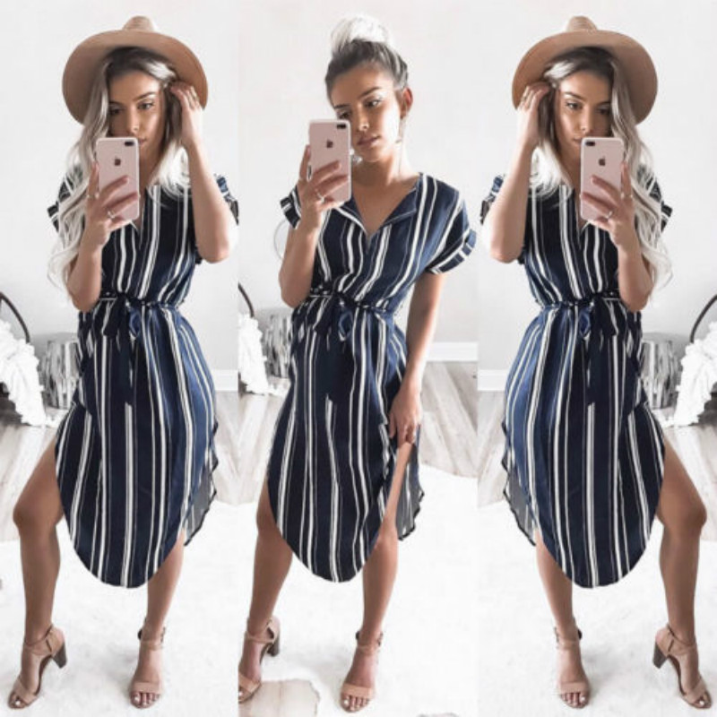 Fashion Women Summer Striped V-Neck Short Sleeve Outfit Casual Loose Bandage Long Maxi Sundess   Blouse     Shirts   Party Beach Outwear