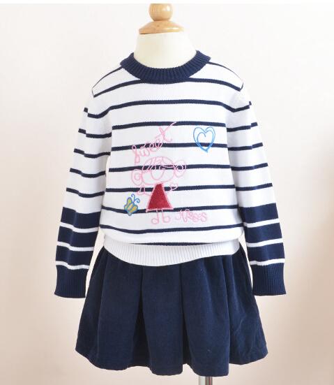 Y612932 Retail 2015 Nuevo Suéter de la Muchacha de Rayas Dobby Corazón de La Muchacha de La Manga Completa de Tejer Niña Chica Suéter Lolita Ropa de Los Cabritos