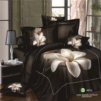 100 algodão 3d grande rosa vermelha impressa conjuntos de folhas de cama preto edredon / colcha cobertura completa queen size