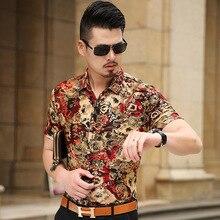 Floral Print Shirt Männer 2017 Marke Neue Gold Bronzing Kurzarm Chemise Homme Phantasie Blume Herren Kleid Shirts Camisa Masculina