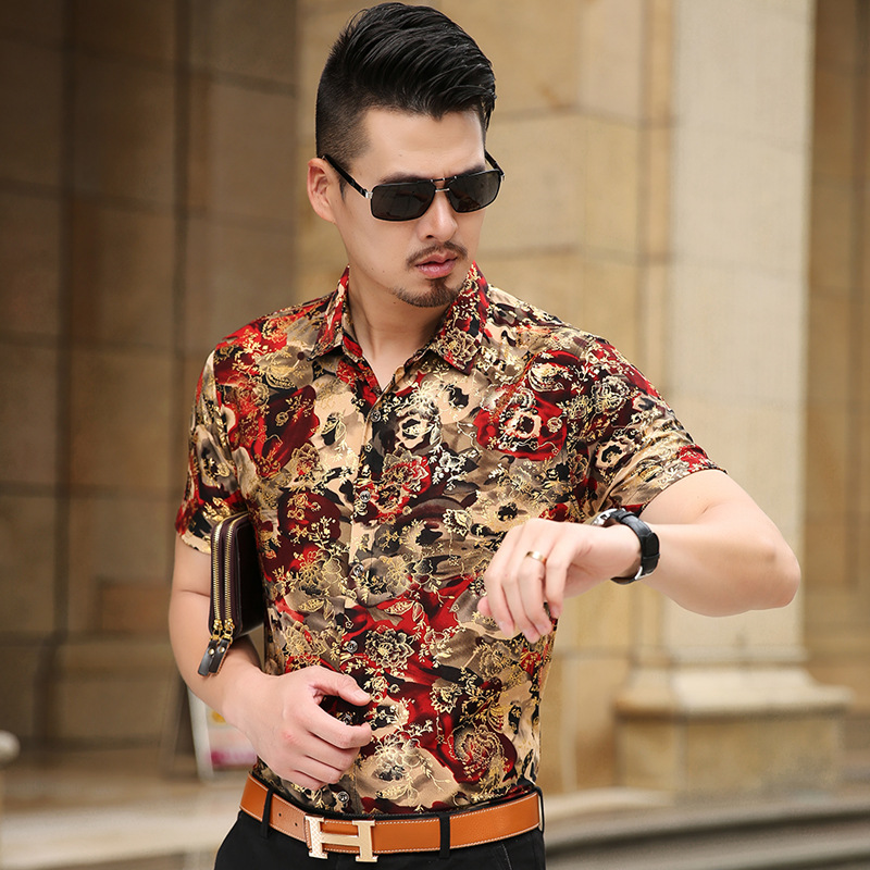 Floral Print Shirt Men 2017 Brand New Gold Bronzing Short Sleeve Chemise Homme Fancy Flower Mens Dress Shirts Camisa Masculina