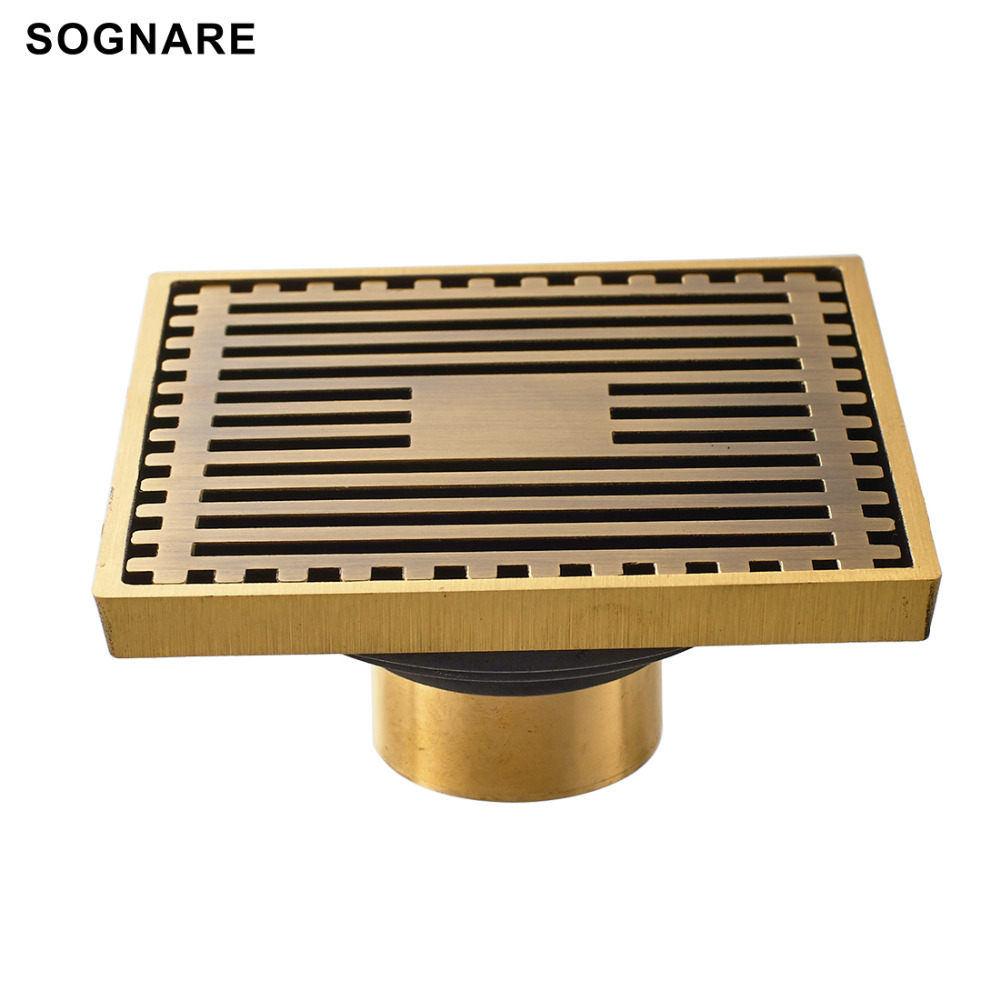 sognare 10cm10cm euro style antique brass deodorant square floor drain strainer cover sink grate bathroom kitchen shower drain. Interior Design Ideas. Home Design Ideas