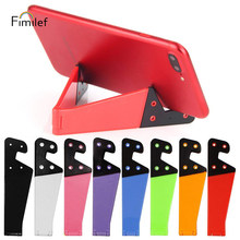 Fimilef Universal Foldable Phone Stand Holder For iPhone Samsung Xiaomi Colorful V Shaped Smartphone Tablet PC Desktop Holder(China)