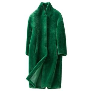 Image 3 - חורף גברת 100% אמיתי מרינו כבשים פרווה מעיל ארוך סגנון כפול מתמודד אמיתי כבש פרווה הלבשה עליונה אלגנטי נשים חורף חם מעיל