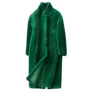 Image 3 - Kış bayan 100% gerçek Merinos Koyun Kürk ceket uzun stil çift yüzlü hakiki kuzu kürk giyim zarif kadınlar kış sıcak tutan kaban