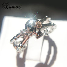 Bamos Punk Skull Cross Statement Ring Women Simple Cubic Zirconia Cocktail Ring Unique Handmade Jewelry Gifts For Women(China)