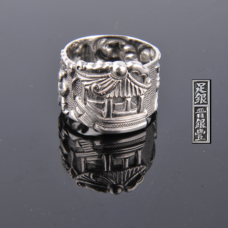 Yinfeng gentleman farmer roll ring Zuyin 999 VINTAGE ANTIQUE STERLING SILVER RING ring opening process of men and women vintage diamante turtle embellished alloy ring for men and women
