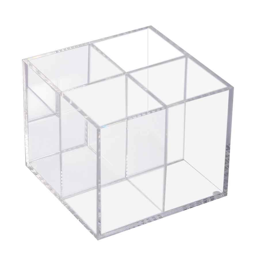 Acrylic Clear Makeup Brush Storage Box Cosmetic Organizer Holder Container Case Rack with 4 Grids Make Up Kit Display Tool