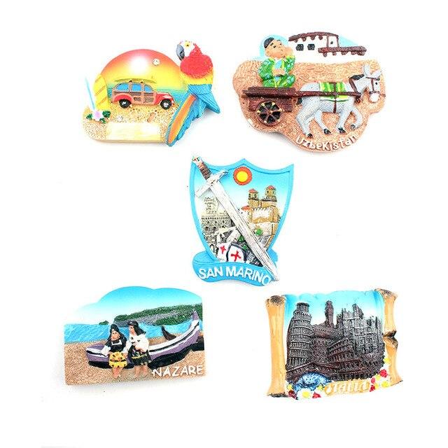 Fashion Parrot Horse Lovers 3D Fridge Magnets TALLA UZBEKISTAN SAN MARINO NAZARE Souvenirs Refrigerator Magnetic Stickers