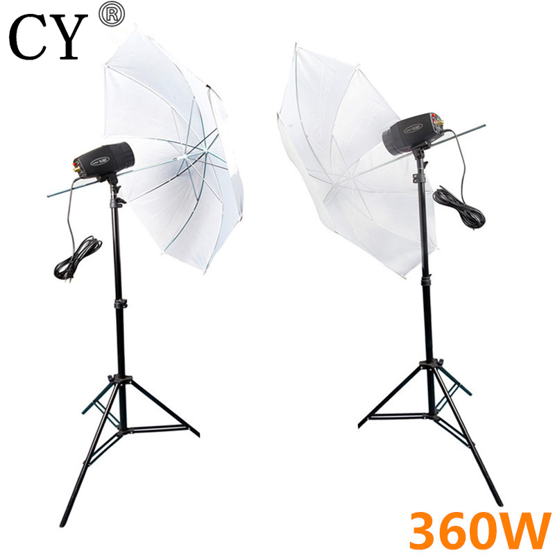 CY Photography Studio Flash Lighting Kits 360w Storbe Flash Light+Reflective Umbrella+Light Stand Photo Studio Set Godox K-180A cy photo stand kit 4pcs 40w led light 83cm studio white transparent umbrella 4 e27 socket 200cm stand umbrella lighting kits