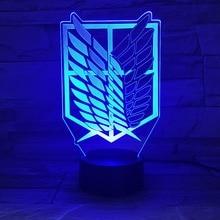 1 قطعة 7 ألوان مصباح أنيمي هجوم على تيتان أجنحة الحرية ثلاثية الأبعاد ضوء اللمس LED مصباح USB أو 3AA بطارية تعمل مصباح الاطفال هدية
