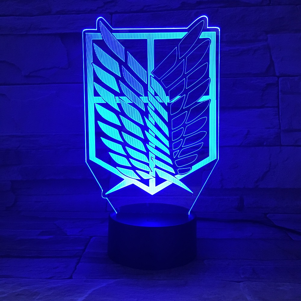 1piece 7 Colors Lamp Anime Attack on Titan Wings of Liberty 3D Light Touch LED Lamp USB or 3AA Battery-operated Lamp Kids Gift