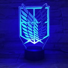 1piece 7 Colors Lamp Anime Attack on Titan Wings of Liberty 3D Light Touch LED Lamp USB or 3AA Battery operated Lamp Kids Gift