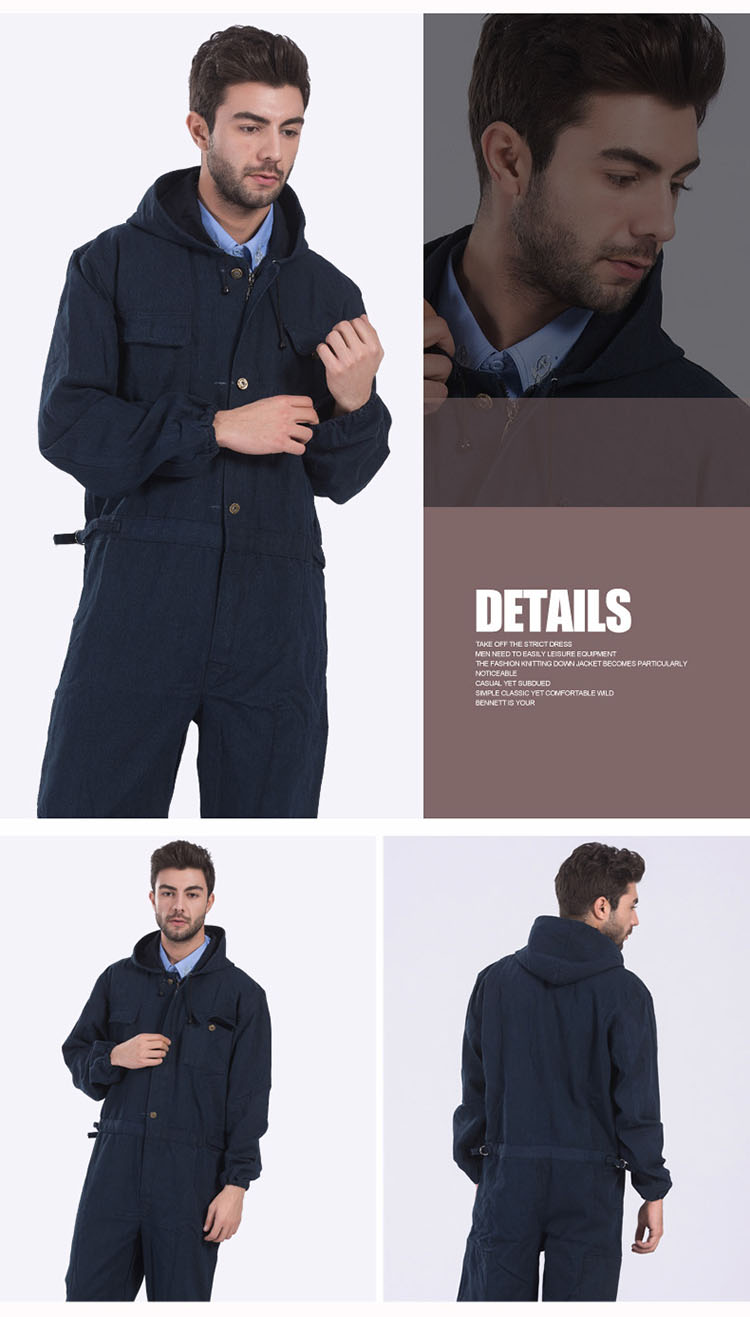 Men Work Clothing Long Sleeve Large Size Denim Overalls High Quality Hooded Dust-proof Welding Auto Repair Protective Coveralls (8)