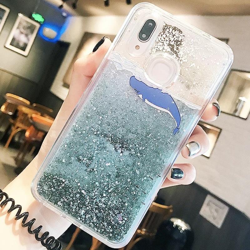 3D Whale Dolphin Clear Glitter Star For Huawei P10 P20 lite Nova 2S Honor 9 10 V10 7C 7X P Smart Y9 2018 Liquid Quicksand Cases (3)