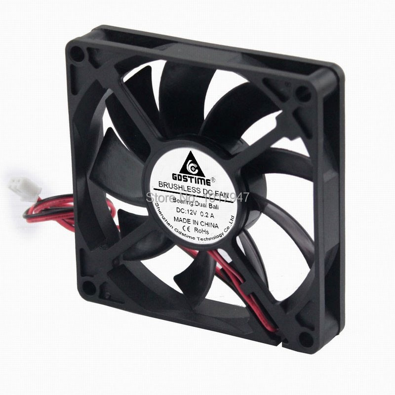 Купить с кэшбэком 1Pieces Gdstime 8cm 80mm x 15mm 8015 PC DC 12V 2Pin Ball Bearing Heatsink Cooler Cooling  Fan