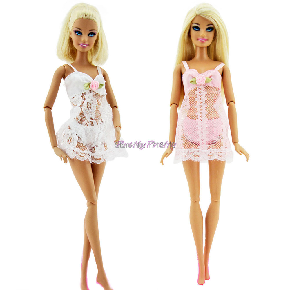 2 Units Pink +White   Horny Pajamas Lingerie Nightwear Lace Evening Costume + Bra + Underwear Garments For Barbie Doll Skirt Garments