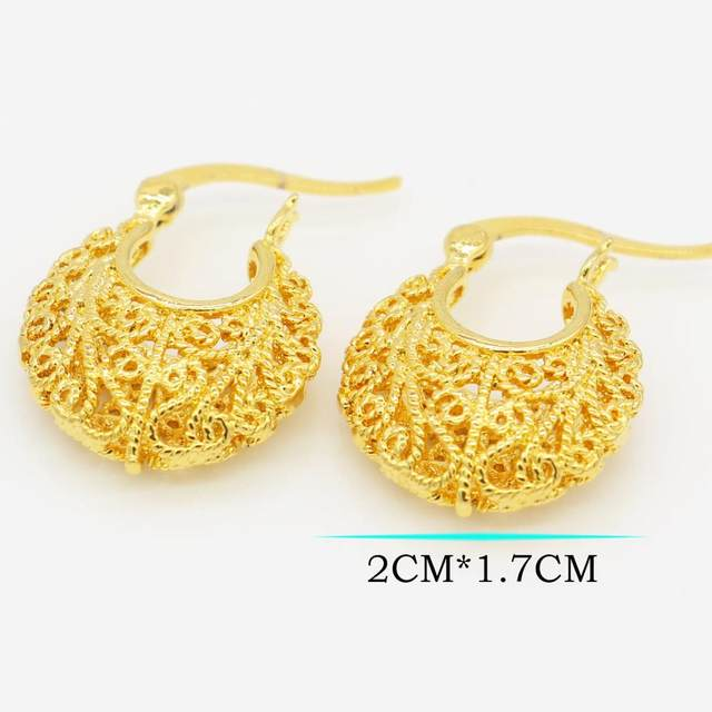 Small Size Ethiopian Gold Earrings Color African India Women Wedding Earringn Jewelry For S Gifts