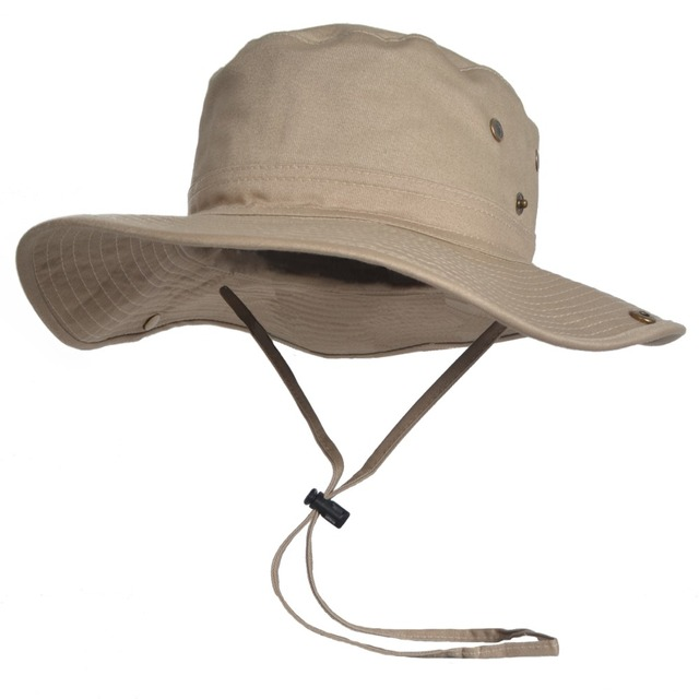 da50ca1ebd1432 100% Cotton Bucket Hat Jungle Boonie Bush Outdoor Hiking Fishing Australian  Sun Hats FORBUSITE