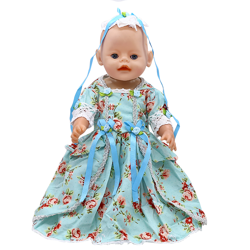 Zapf Baby Born Doll Clothes Color Flower Print Long Dress Fit 43cm Zapf Baby Born Doll Accessories Girl Christmas Gift X-189 american girl doll clothes elegant color flower print long dress doll clothes for 18 american girl best gift 5 colors d 2