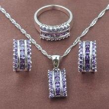Природный пурпурный кристалл Женские Ювелирные наборы из стерлингового серебра 925 пробы ожерелье кулон серьги кольцо TZ0143