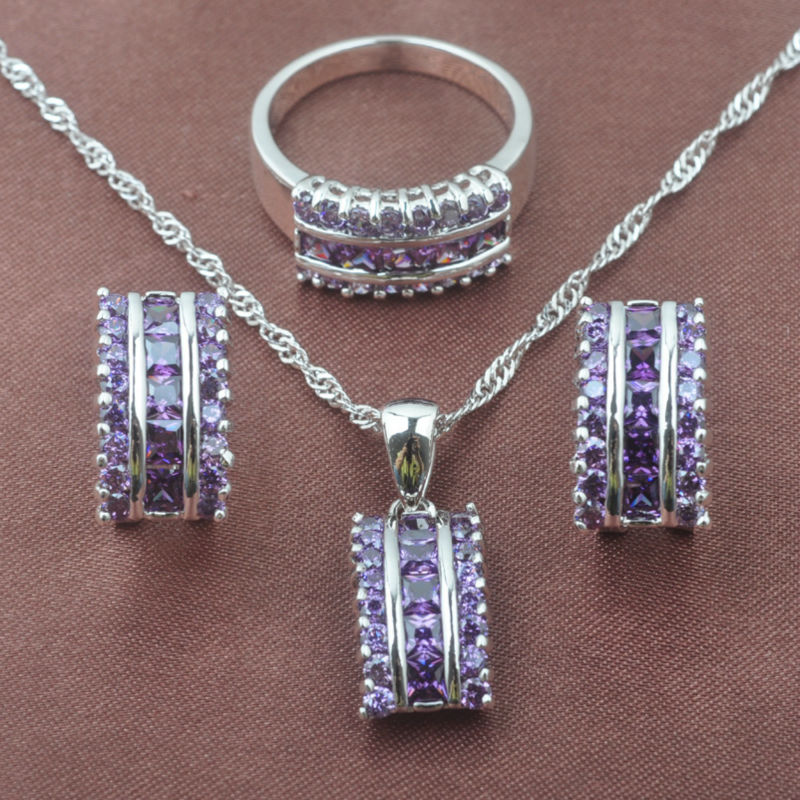 <font><b>2019</b></font> New Natural Purple Crystal Women's 925 Sterling Silver <font><b>Jewelry</b></font> <font><b>Sets</b></font> Necklace Pendant Earrings Ring Free Shipping TZ0143 image