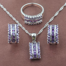 2019 New Natural Purple Crystal Women's 925 Sterling Silver Jewelry Sets Necklac