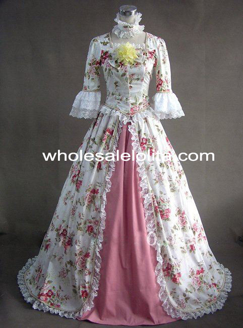 Rococo Style Flower Print Victorian Civil WarSouthern Belle Ball Gown Dress On