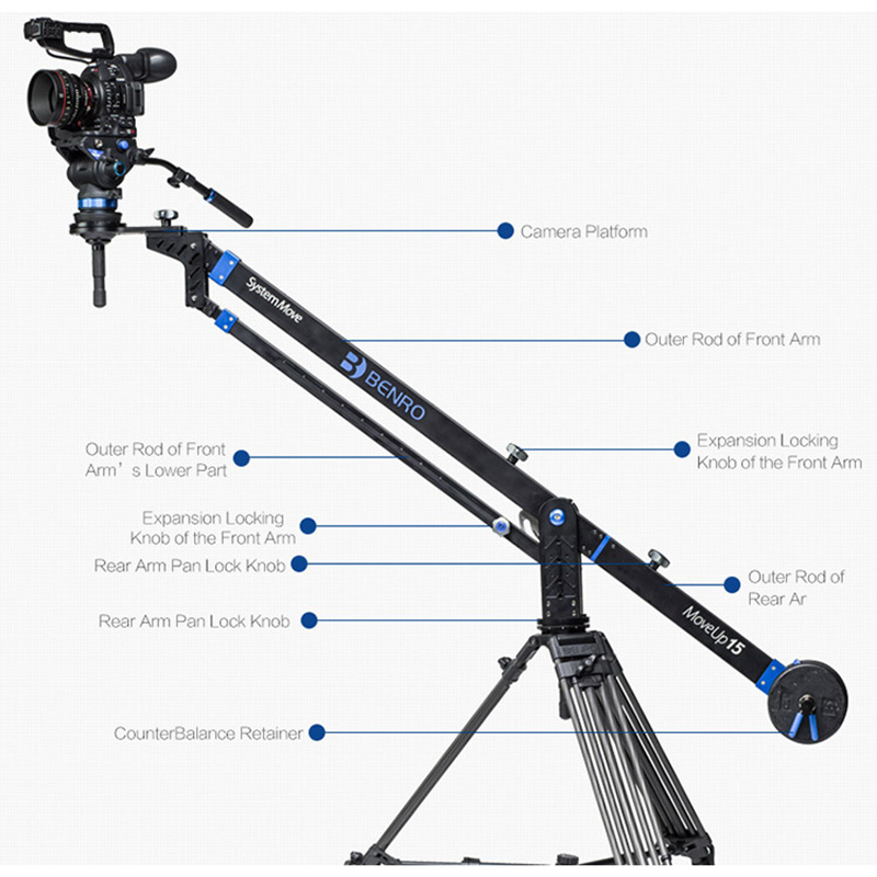 Benro MoveUp15 Travel Video Jib crane Professional Auminium Portable Pro DSLR Video Camera Crane Jib Arm Max Load To 15kg A15J27 цена и фото