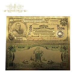 10 шт./лот, 1902 год, американская цветная Золотая банкнота, 10 долларов США, 24 К, имитация денег, Реплика для коллекции